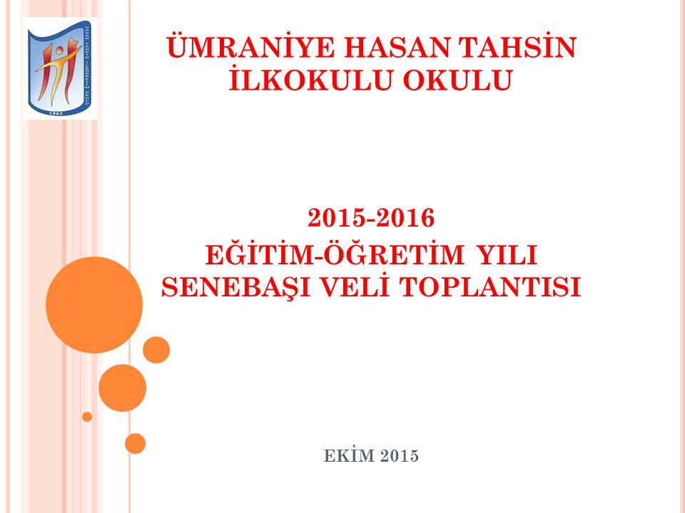 ÜMRANİYE HASAN TAHSİN İLKOKULU OKULU 2015-2016 EĞİTİM-ÖĞRETİM YILI SENEBAŞI VELİ TOPLANTISI EKİM 2015