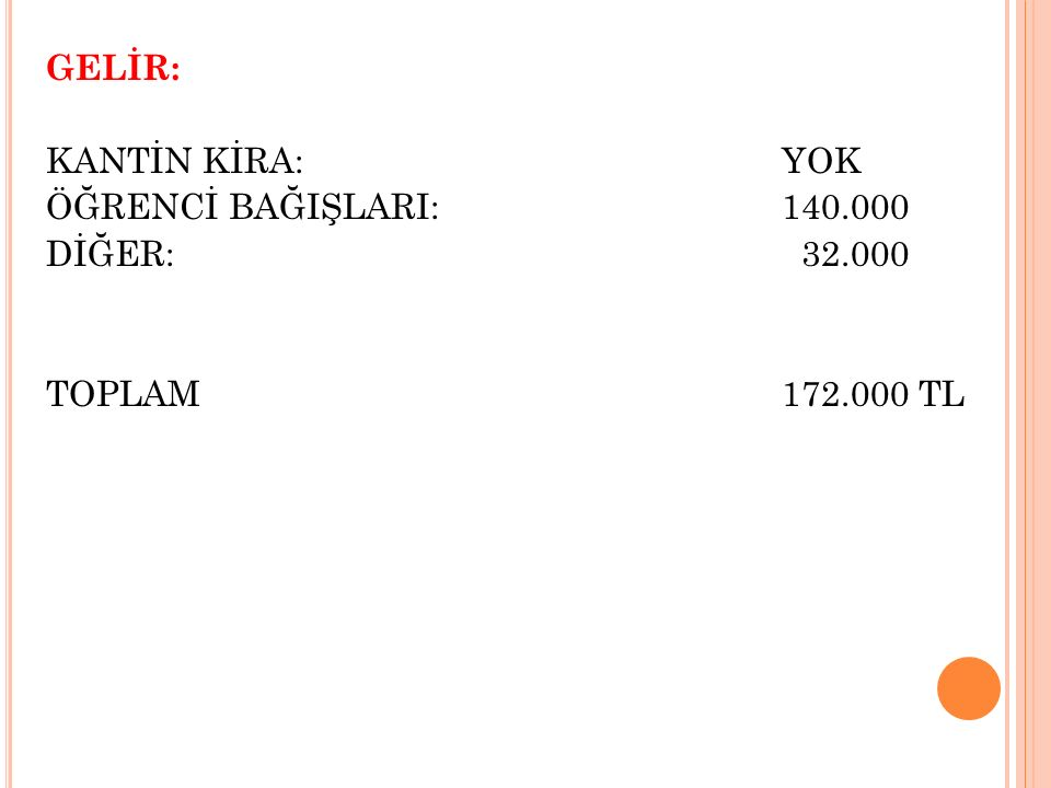 GELİR: KANTİN KİRA: YOK ÖĞRENCİ BAĞIŞLARI:140.000 DİĞER: 32.000 TOPLAM 172.000 TL