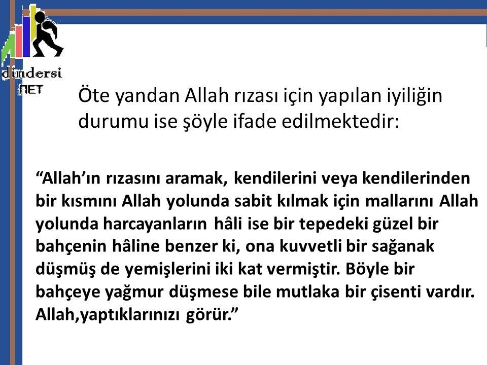 """Öte yandan Allah rızası için yapılan iyiliğin durumu ise şöyle ifade edilmektedir: """"Allah'ın rızasını aramak, kendilerini veya kendilerinden bir kısmı"""