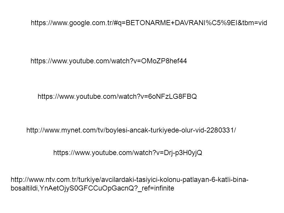 https://www.google.com.tr/#q=BETONARME+DAVRANI%C5%9EI&tbm=vid https://www.youtube.com/watch?v=OMoZP8hef44 https://www.youtube.com/watch?v=6oNFzLG8FBQ