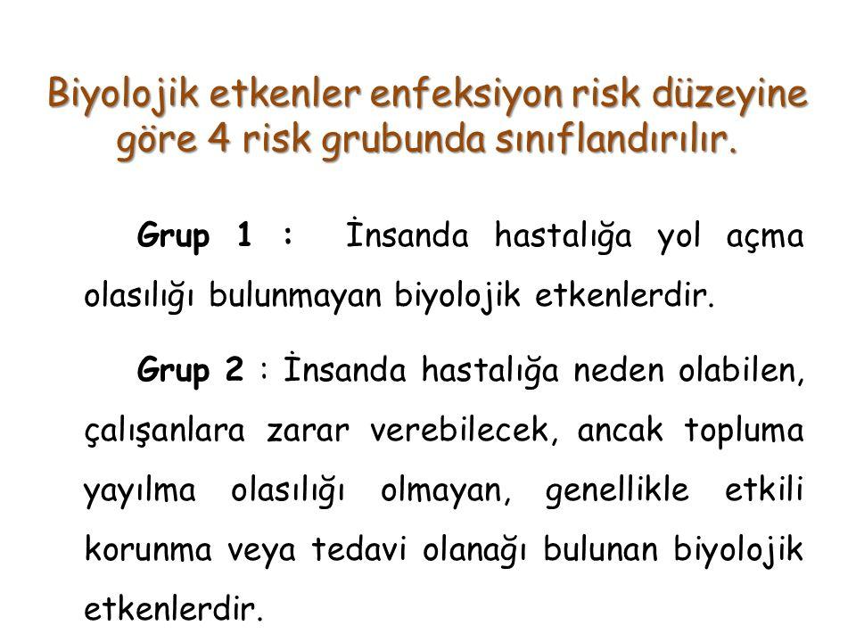 Biyolojik etkenler enfeksiyon risk düzeyine göre 4 risk grubunda sınıflandırılır. Grup 1 : İnsanda hastalığa yol açma olasılığı bulunmayan biyolojik e
