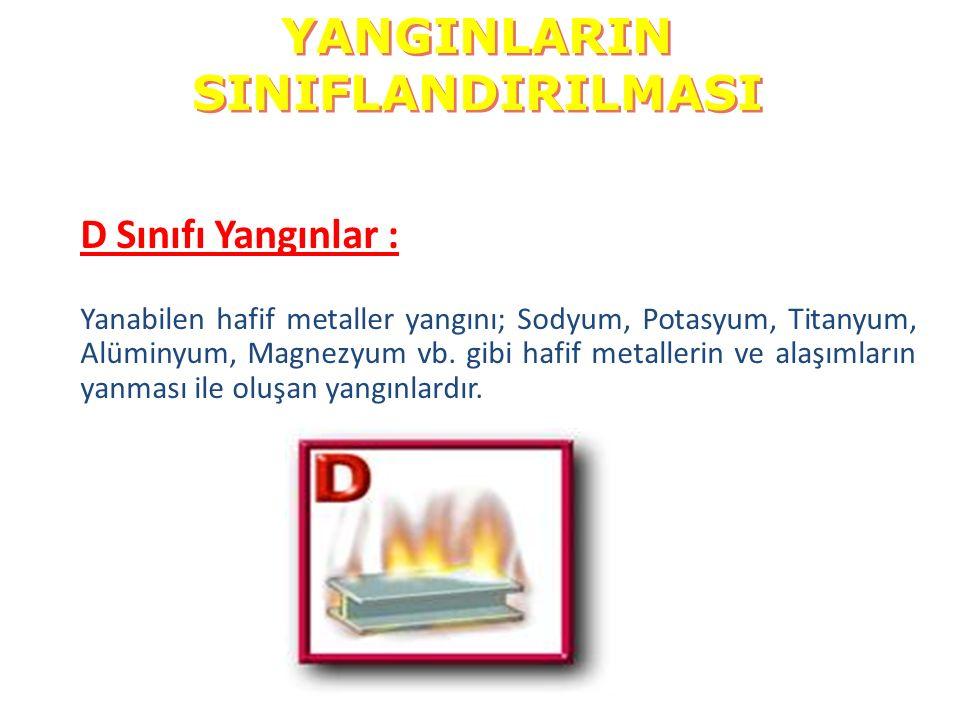  D Sınıfı Yangınlar : Yanabilen hafif metaller yangını; Sodyum, Potasyum, Titanyum, Alüminyum, Magnezyum vb. gibi hafif metallerin ve alaşımların yan