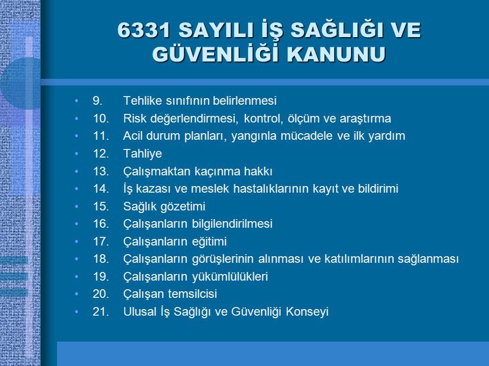 6331 SAYILI İŞ SAĞLIĞI VE GÜVENLİĞİ KANUNU 9. Tehlike sınıfının belirlenmesi 10. Risk değerlendirmesi, kontrol, ölçüm ve araştırma 11. Acil durum plan