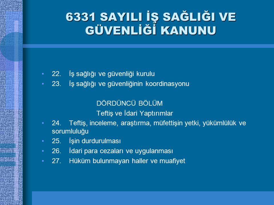 6331 SAYILI İŞ SAĞLIĞI VE GÜVENLİĞİ KANUNU 22.İş sağlığı ve güvenliği kurulu 23.İş sağlığı ve güvenliğinin koordinasyonu DÖRDÜNCÜ BÖLÜM Teftiş ve İdar