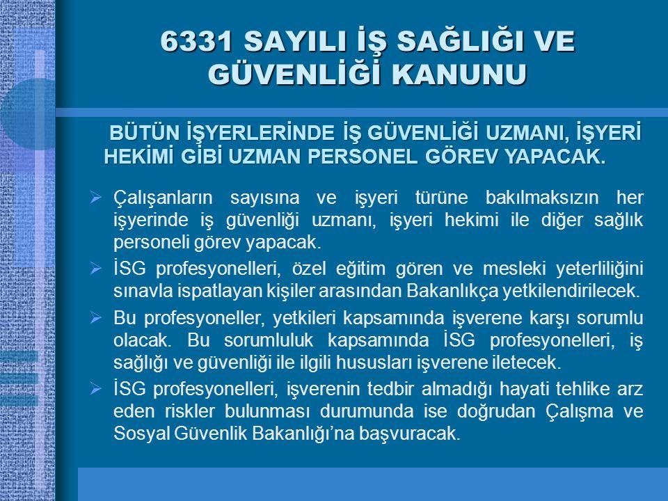 6331 SAYILI İŞ SAĞLIĞI VE GÜVENLİĞİ KANUNU  Çalışanların sayısına ve işyeri türüne bakılmaksızın her işyerinde iş güvenliği uzmanı, işyeri hekimi ile
