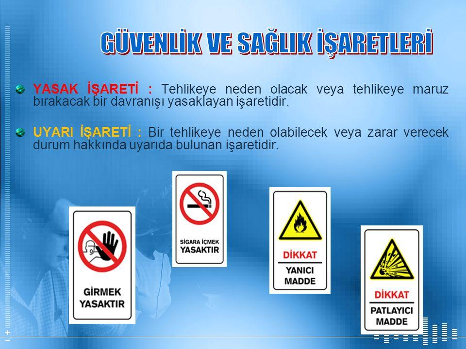 YASAK İŞARETİ : Tehlikeye neden olacak veya tehlikeye maruz bırakacak bir davranışı yasaklayan işaretidir. UYARI İŞARETİ : Bir tehlikeye neden olabile
