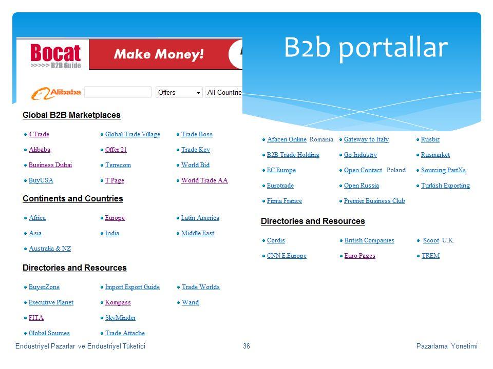 B2b portallar Pazarlama Yönetimi36Endüstriyel Pazarlar ve Endüstriyel Tüketici
