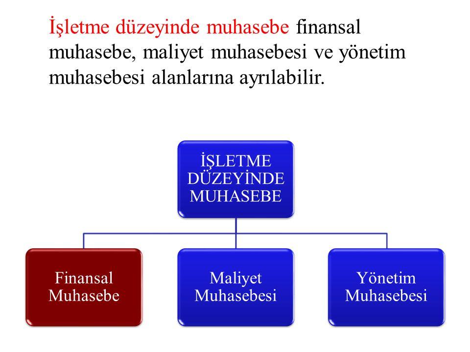 İşletme düzeyinde muhasebe finansal muhasebe, maliyet muhasebesi ve yönetim muhasebesi alanlarına ayrılabilir.