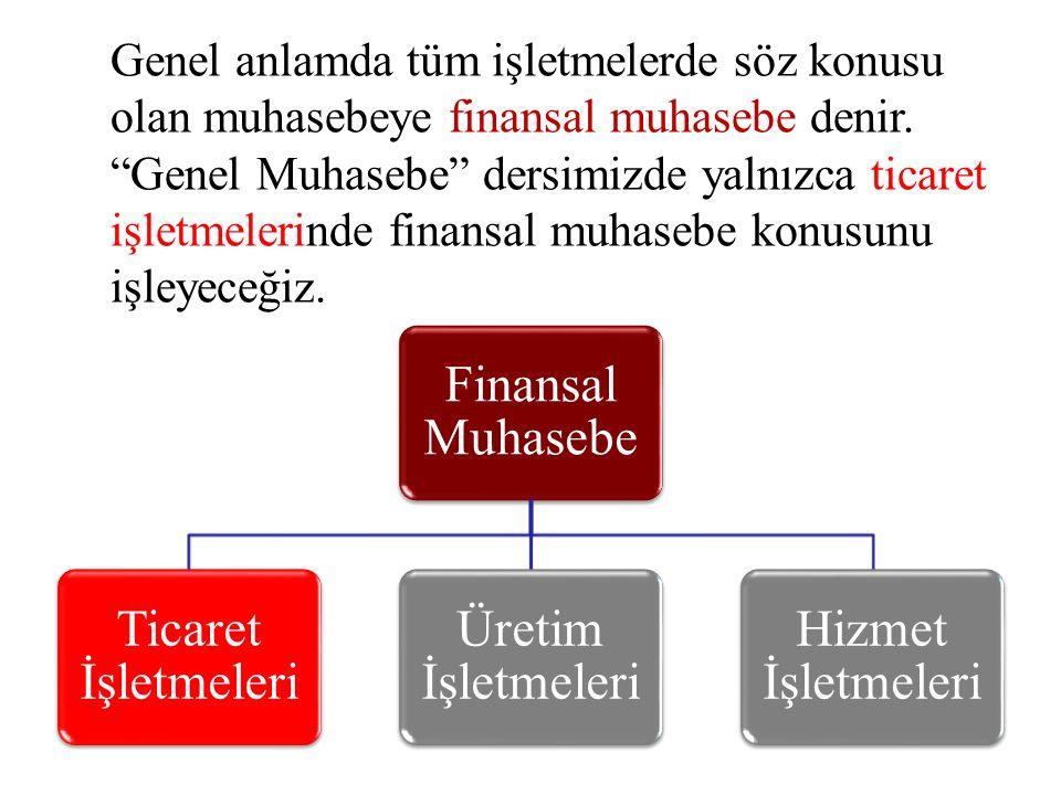 """Genel anlamda tüm işletmelerde söz konusu olan muhasebeye finansal muhasebe denir. """"Genel Muhasebe"""" dersimizde yalnızca ticaret işletmelerinde finansa"""
