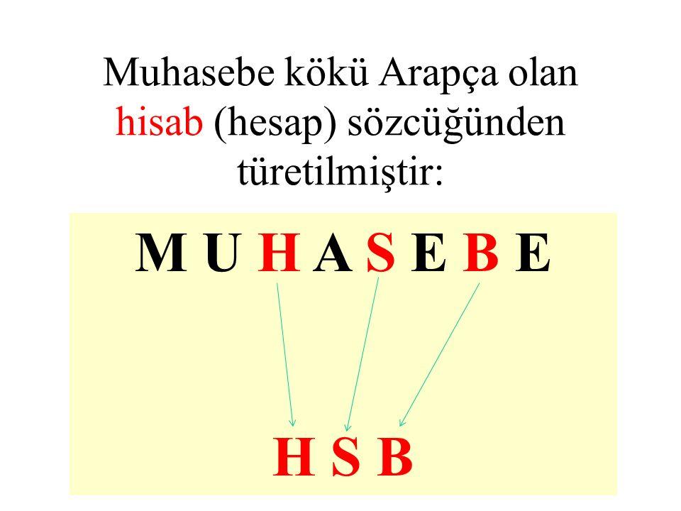 Muhasebe kökü Arapça olan hisab (hesap) sözcüğünden türetilmiştir: M U H A S E B E H S B