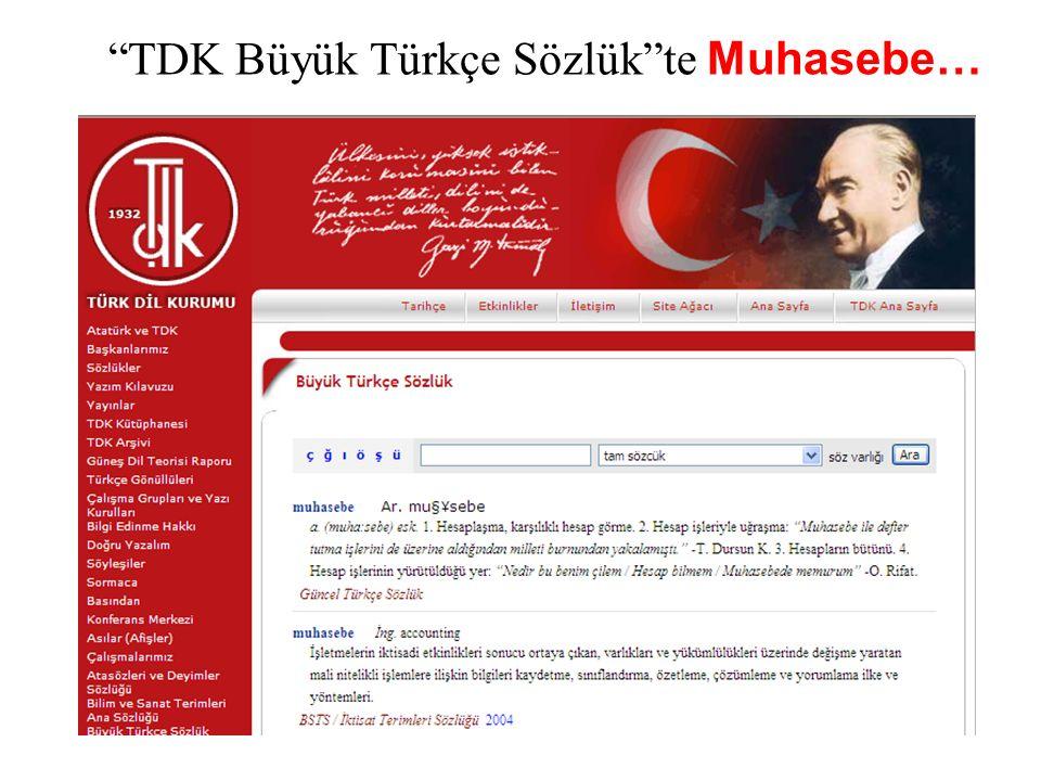 TDK Büyük Türkçe Sözlük te Muhasebe…