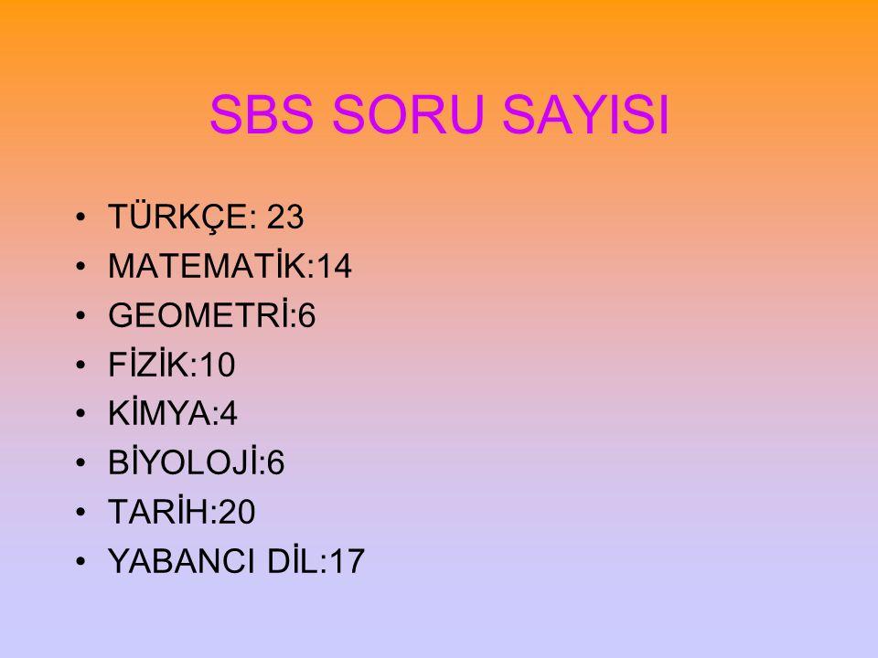 SBS SORU SAYISI TÜRKÇE: 23 MATEMATİK:14 GEOMETRİ:6 FİZİK:10 KİMYA:4 BİYOLOJİ:6 TARİH:20 YABANCI DİL:17