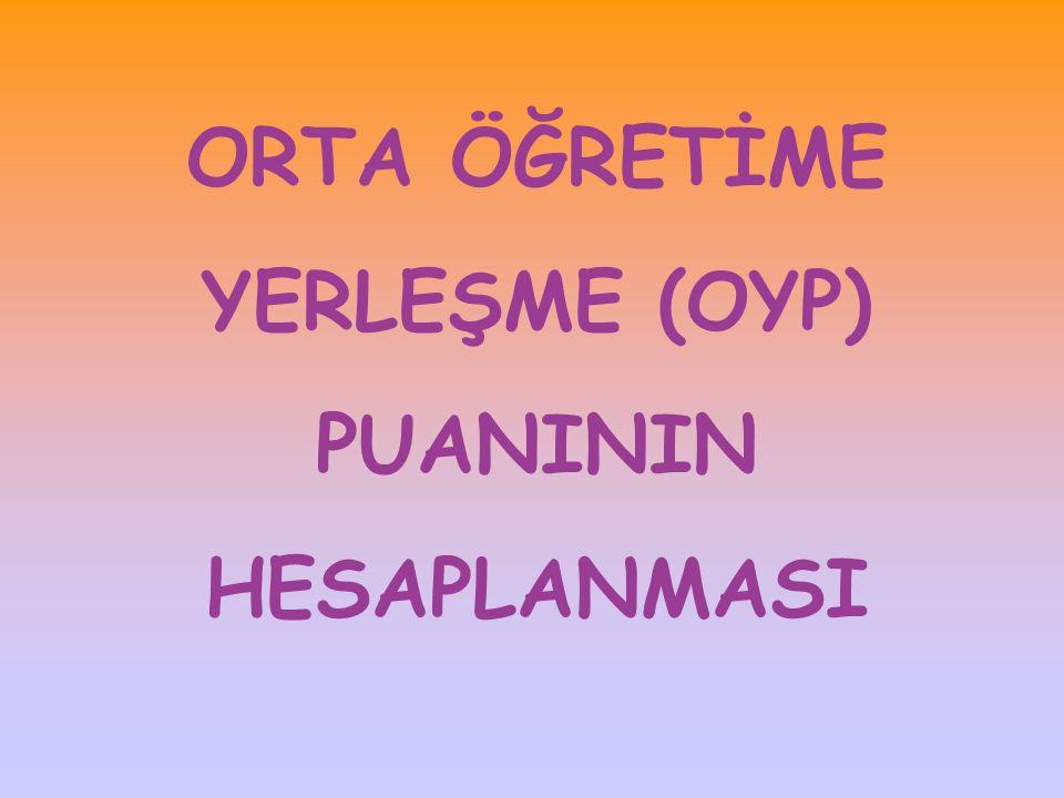 ORTA ÖĞRETİME YERLEŞME (OYP) PUANININ HESAPLANMASI