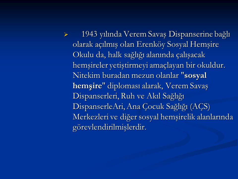  1943 yılında Verem Savaş Dispanserine bağlı olarak açılmış olan Erenköy Sosyal Hemşire Okulu da, halk sağlığı alanında çalışacak hemşireler yetiştir