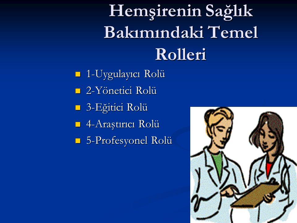 Hemşirenin Sağlık Bakımındaki Temel Rolleri 1-Uygulayıcı Rolü 1-Uygulayıcı Rolü 2-Yönetici Rolü 2-Yönetici Rolü 3-Eğitici Rolü 3-Eğitici Rolü 4-Araştırıcı Rolü 4-Araştırıcı Rolü 5-Profesyonel Rolü 5-Profesyonel Rolü