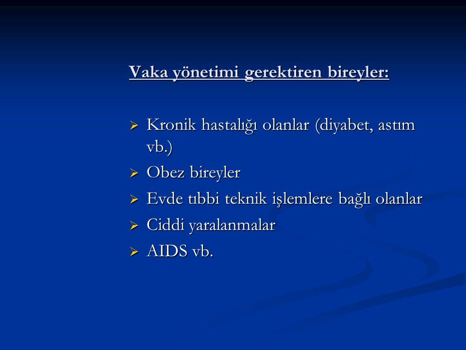 Vaka yönetimi gerektiren bireyler:  Kronik hastalığı olanlar (diyabet, astım vb.)  Obez bireyler  Evde tıbbi teknik işlemlere bağlı olanlar  Ciddi yaralanmalar  AIDS vb.