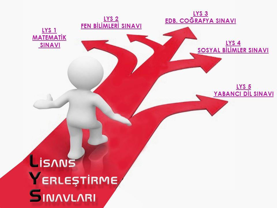 LYS 1 MATEMATİK SINAVI LYS 2 FEN BİLİMLERİ SINAVI LYS 3 EDB. COĞRAFYA SINAVI LYS 4 SOSYAL BİLİMLER SINAVI LYS 5 YABANCI DİL SINAVI