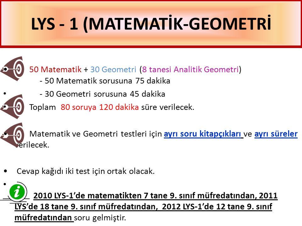 LYS - 1 (MATEMATİK-GEOMETRİ 50 Matematik + 30 Geometri (8 tanesi Analitik Geometri) - 50 Matematik sorusuna 75 dakika - 30 Geometri sorusuna 45 dakika Toplam 80 soruya 120 dakika süre verilecek.