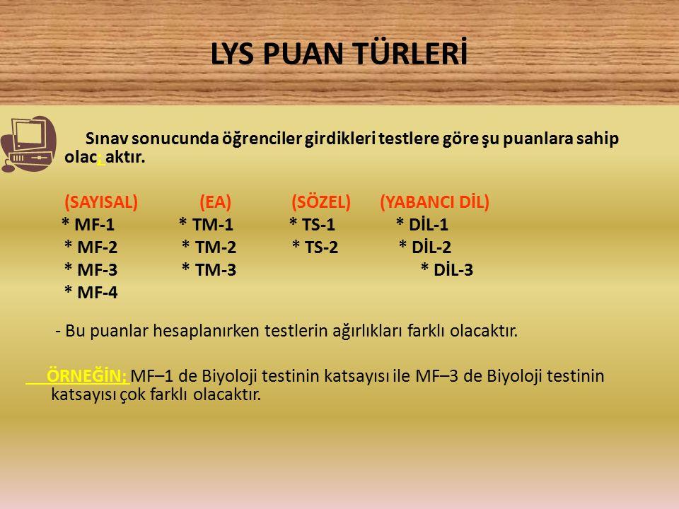 LYS PUAN TÜRLERİ Sınav sonucunda öğrenciler girdikleri testlere göre şu puanlara sahip olac; aktır. (SAYISAL) (EA) (SÖZEL) (YABANCI DİL) * MF-1 * TM-1