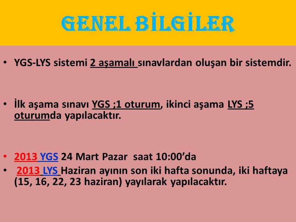 GENEL B İ LG İ LER Birinci Aşama : YGS-LYS sistemi 2 aşamalı sınavlardan oluşan bir sistemdir. İlk aşama sınavı YGS ;1 oturum, ikinci aşama LYS ;5 otu