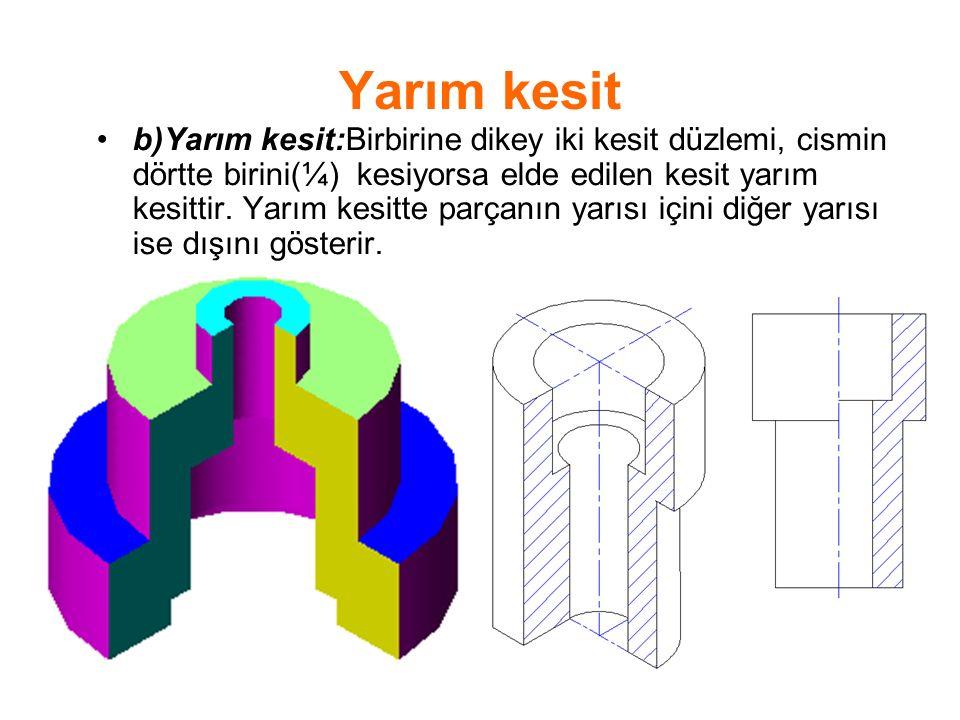 Yarım kesit b)Yarım kesit:Birbirine dikey iki kesit düzlemi, cismin dörtte birini(¼) kesiyorsa elde edilen kesit yarım kesittir. Yarım kesitte parçanı