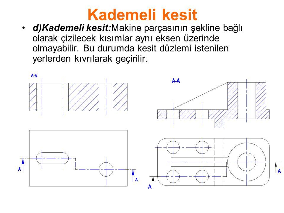 Kademeli kesit d)Kademeli kesit:Makine parçasının şekline bağlı olarak çizilecek kısımlar aynı eksen üzerinde olmayabilir. Bu durumda kesit düzlemi is