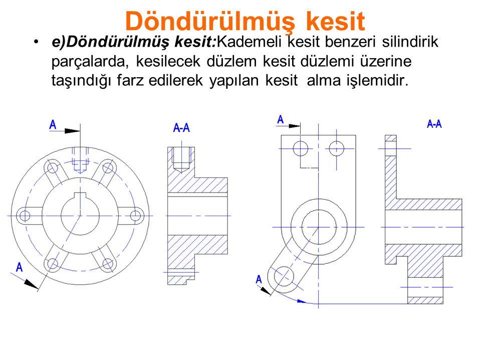 Döndürülmüş kesit e)Döndürülmüş kesit:Kademeli kesit benzeri silindirik parçalarda, kesilecek düzlem kesit düzlemi üzerine taşındığı farz edilerek yapılan kesit alma işlemidir.