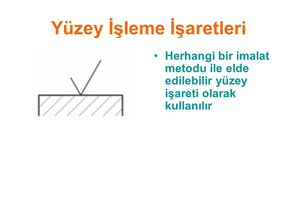 Yüzey İşleme İşaretleri Herhangi bir imalat metodu ile elde edilebilir yüzey işareti olarak kullanılır