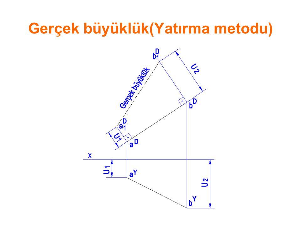 Yarım kesit b)Yarım kesit:Birbirine dikey iki kesit düzlemi, cismin dörtte birini(¼) kesiyorsa elde edilen kesit yarım kesittir.