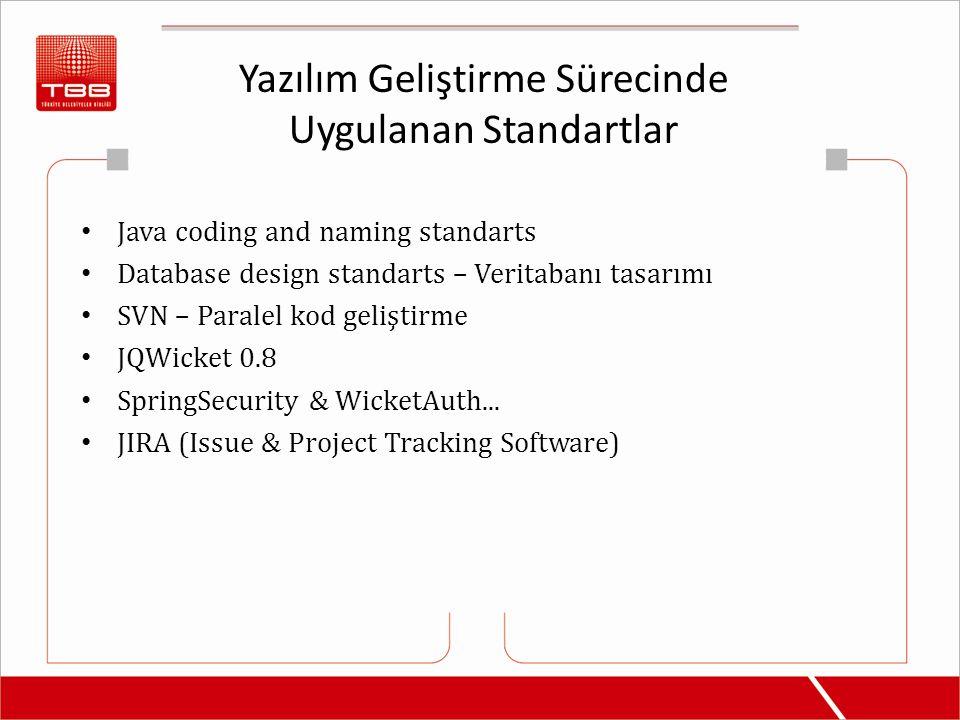 Yazılım Geliştirme Sürecinde Uygulanan Standartlar Java coding and naming standarts Database design standarts – Veritabanı tasarımı SVN – Paralel kod