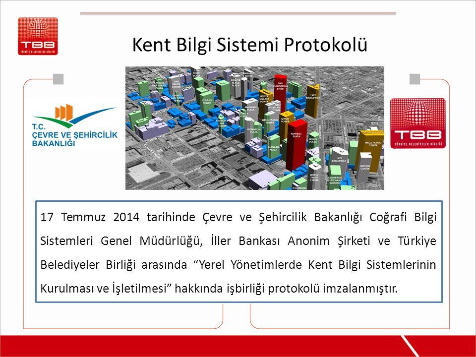 Kent Bilgi Sistemi Protokolü 17 Temmuz 2014 tarihinde Çevre ve Şehircilik Bakanlığı Coğrafi Bilgi Sistemleri Genel Müdürlüğü, İller Bankası Anonim Şir