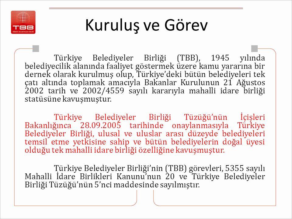 Kuruluş ve Görev Türkiye Belediyeler Birliği (TBB), 1945 yılında belediyecilik alanında faaliyet göstermek üzere kamu yararına bir dernek olarak kurulmuş olup, Türkiye'deki bütün belediyeleri tek çatı altında toplamak amacıyla Bakanlar Kurulunun 21 Ağustos 2002 tarih ve 2002/4559 sayılı kararıyla mahalli idare birliği statüsüne kavuşmuştur.