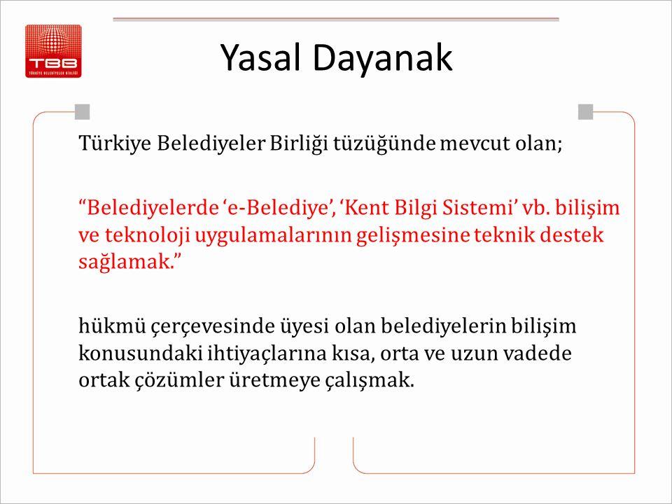 """Yasal Dayanak Türkiye Belediyeler Birliği tüzüğünde mevcut olan; """"Belediyelerde 'e-Belediye', 'Kent Bilgi Sistemi' vb. bilişim ve teknoloji uygulamala"""