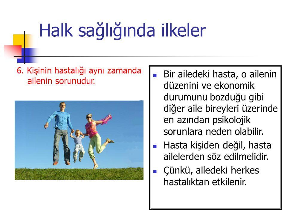 Halk sağlığında ilkeler 6.Kişinin hastalığı aynı zamanda ailenin sorunudur.