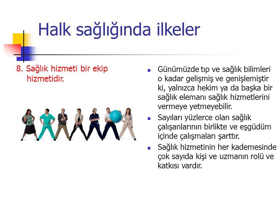 Halk sağlığında ilkeler 8.Sağlık hizmeti bir ekip hizmetidir.