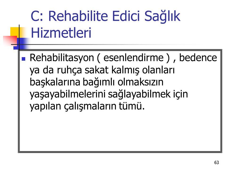 63 C: Rehabilite Edici Sağlık Hizmetleri Rehabilitasyon ( esenlendirme ), bedence ya da ruhça sakat kalmış olanları başkalarına bağımlı olmaksızın yaşayabilmelerini sağlayabilmek için yapılan çalışmaların tümü.