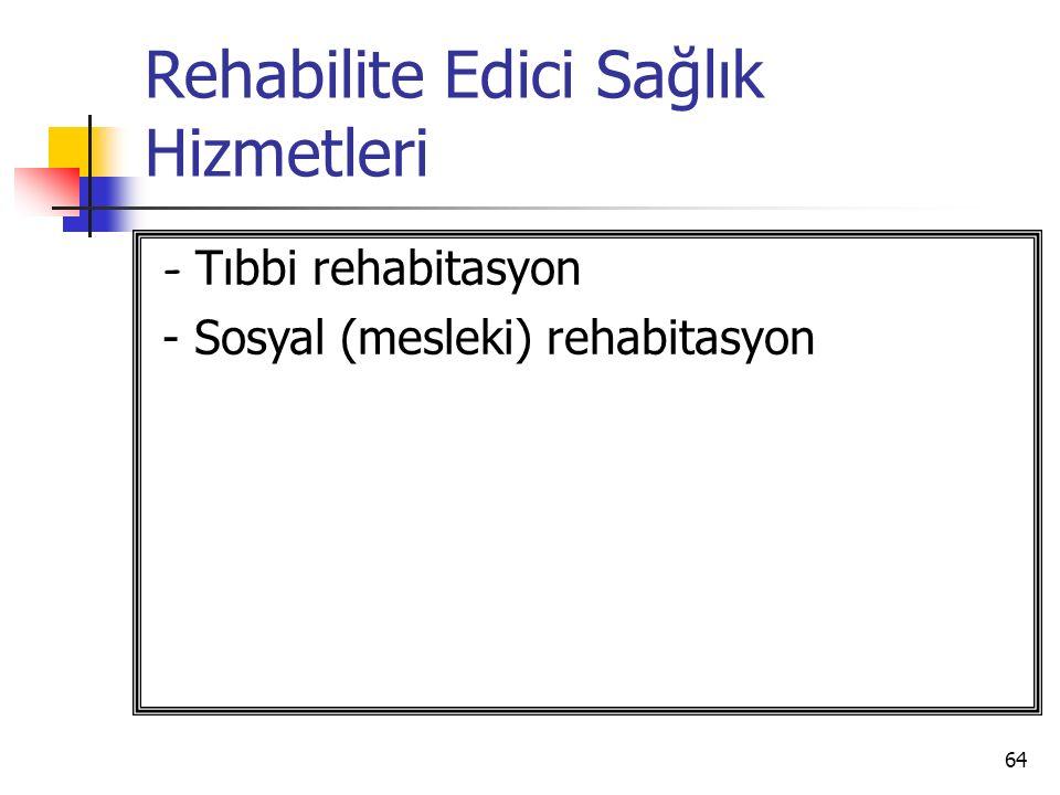 64 Rehabilite Edici Sağlık Hizmetleri - Tıbbi rehabitasyon - Sosyal (mesleki) rehabitasyon