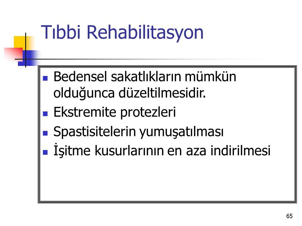 65 Tıbbi Rehabilitasyon Bedensel sakatlıkların mümkün olduğunca düzeltilmesidir.