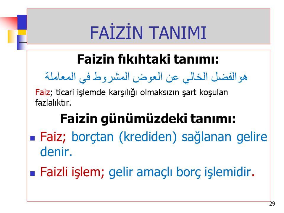 FAİZİN TANIMI Faizin fıkıhtaki tanımı: هوالفضل الخالي عن العوض المشروط في المعاملة Faiz; ticari işlemde karşılığı olmaksızın şart koşulan fazlalıktır.
