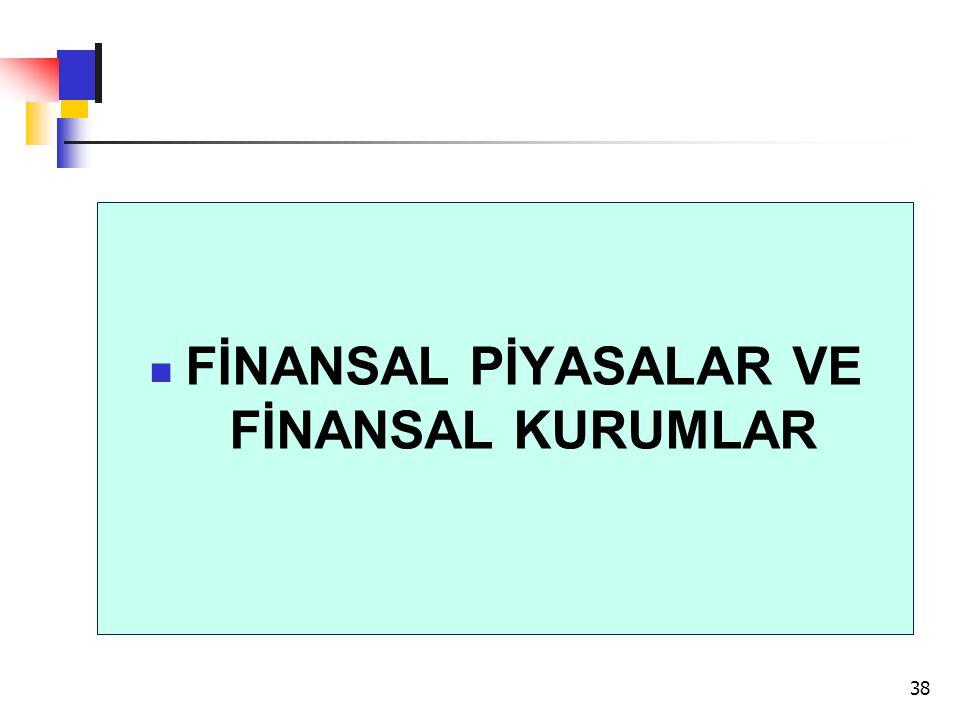 FİNANSAL PİYASALAR VE FİNANSAL KURUMLAR 38