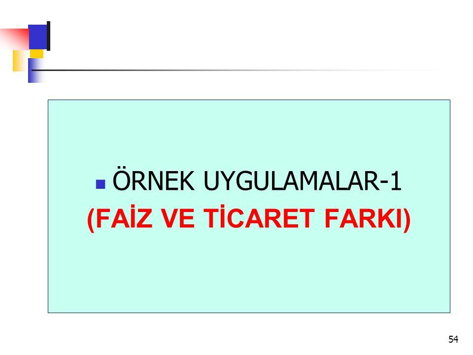 ÖRNEK UYGULAMALAR-1 (FAİZ VE TİCARET FARKI) 54
