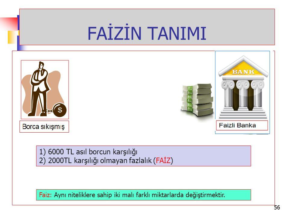 FAİZİN TANIMI 1) 6000 TL asıl borcun karşılığı 2) 2000TL karşılığı olmayan fazlalık (FAİZ) Faiz: Aynı niteliklere sahip iki malı farklı miktarlarda de