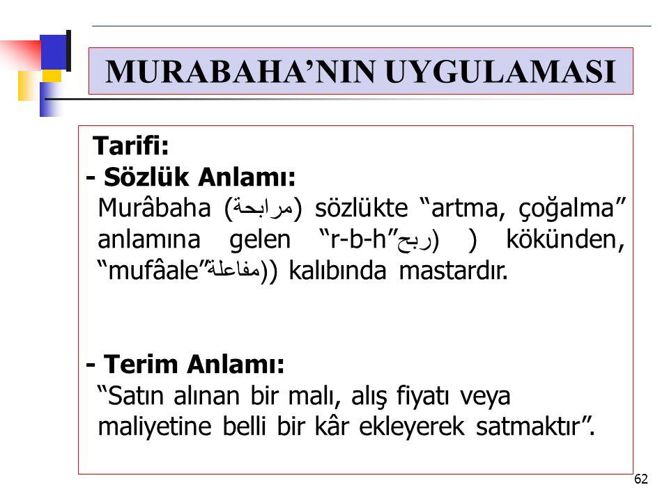 """MURABAHA'NIN UYGULAMASI Tarifi: - Sözlük Anlamı: Murâbaha (مرابحة) sözlükte """"artma, çoğalma"""" anlamına gelen """"r-b-h"""" (ربح) kökünden, """"mufâale""""(مفاعلة)"""