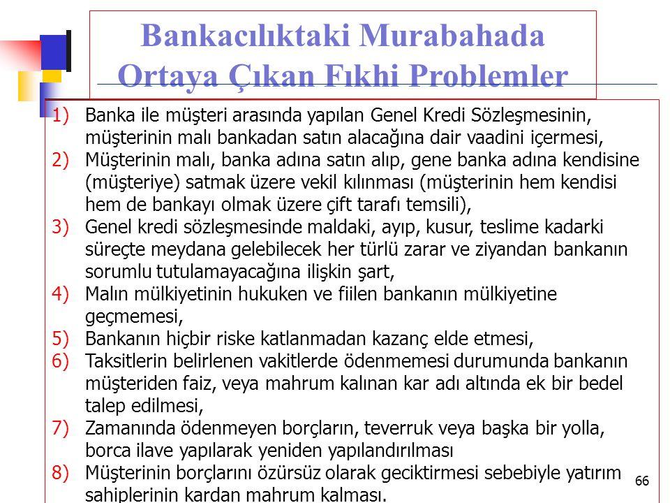 Bankacılıktaki Murabahada Ortaya Çıkan Fıkhi Problemler 1)Banka ile müşteri arasında yapılan Genel Kredi Sözleşmesinin, müşterinin malı bankadan satın