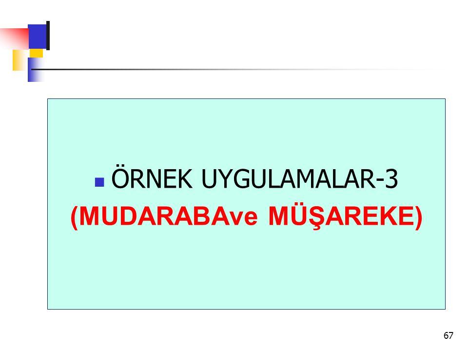 ÖRNEK UYGULAMALAR-3 (MUDARABAve MÜŞAREKE) 67