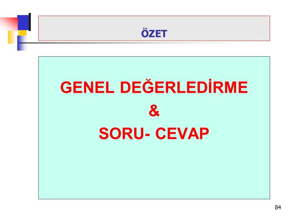 GENEL DEĞERLEDİRME & SORU- CEVAP 84 ÖZET
