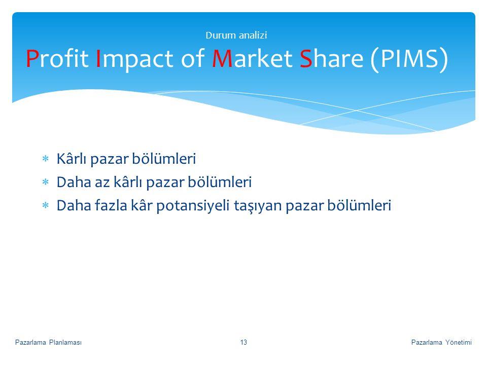 Durum analizi Profit Impact of Market Share (PIMS)  Kârlı pazar bölümleri  Daha az kârlı pazar bölümleri  Daha fazla kâr potansiyeli taşıyan pazar