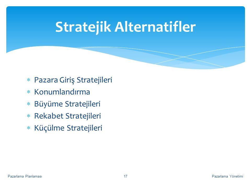  Pazara Giriş Stratejileri  Konumlandırma  Büyüme Stratejileri  Rekabet Stratejileri  Küçülme Stratejileri Stratejik Alternatifler Pazarlama Yöne