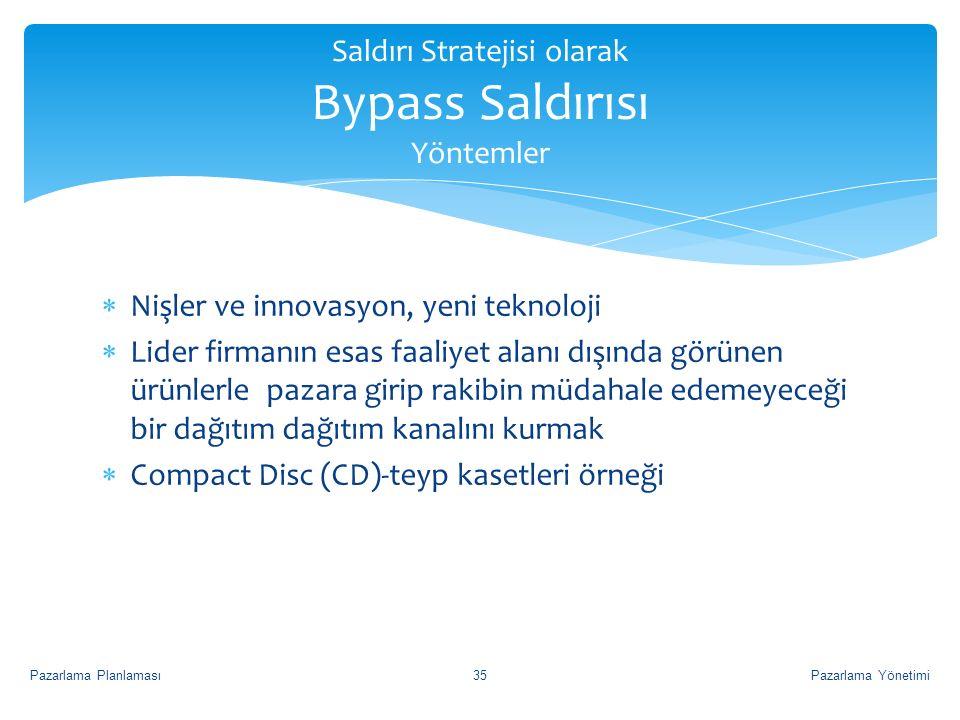 Saldırı Stratejisi olarak Bypass Saldırısı Yöntemler  Nişler ve innovasyon, yeni teknoloji  Lider firmanın esas faaliyet alanı dışında görünen ürünl