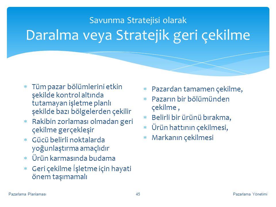 Savunma Stratejisi olarak Daralma veya Stratejik geri çekilme  Tüm pazar bölümlerini etkin şekilde kontrol altında tutamayan işletme planlı şekilde b